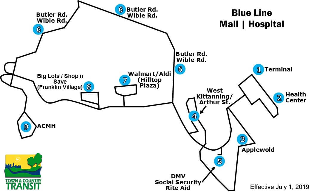 Blue Line - Mall/Hospital Schedule and Fares - Serving: Applewold